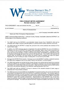 Fire Hydrant Meter Agreement - Screenshot