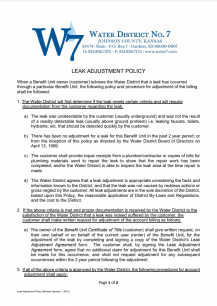 Leak Adjustment Policy - Screenshot