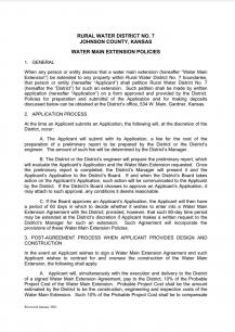 WAter Main Extension Policy - Screenshot