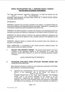 Water Main Extentions Agreement - Screenshot